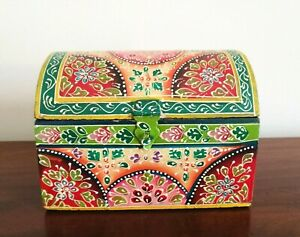 Hand Painted Box Chest, Domed Lid, Fair Trade, Indian, Red and Green