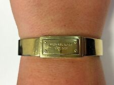 Michael Kors Gold Fulton MK Logo Plaque Hinge Bangle Bracelet MKJ2351