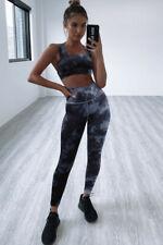 Grey tie dye gym legging set sport yoga running fitness set size LARGE, UK 12