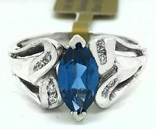 NATURAL 1.67 Cts BLUE ZIRCON & DIAMONDS RING 14K WHITE GOLD ** New With Tag **