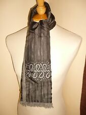 VINTAGE 1960'S RETRO MOD PSYCH  INDIE GREY STRIPE PAISLEY LINED SCARF CRAVAT