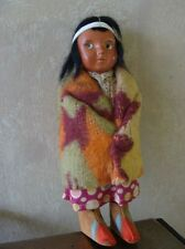 "Skookum Indian Doll Bully Good 6 1/2"" Bright Wool Blanket, Cotton Print Clothes"