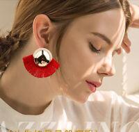Women Boho Long Tassel Earrings Rhinestone Drop Statement Fringe Jewelry Gift