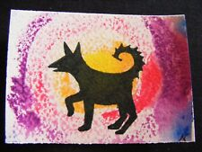 """ACEO Original Acrylic Paint & Pen Painting """"Year of the Dog #1"""" by NuoVo"""