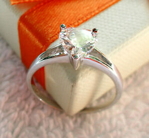 Size O Heart Ring  White Stone 7mm Solitaire  925 Sterlyng Silver
