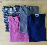 Scrub Tops Women's Size XS Lot of 4 Grey Purple Navy Blue Print Landau Attitudes