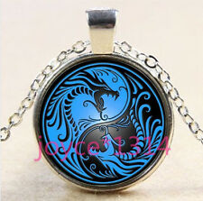 Yin Yang Dragon Cabochon Tibetan silver Glass Chain Pendant Necklace #3716