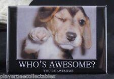 "Who's Awesome? 2"" X 3"" Fridge / Locker Magnet. Motivation Cute Puppy Dog"