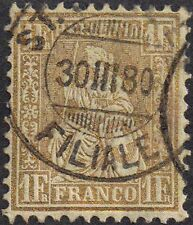 Switzerland 1864 1f single gold Helvetia sg 60a used
