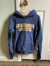 Womens Blue Abercrombie and Fitch Hoodie Medium Raised Stitched Lettering