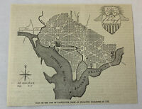 1887 magazine engraving ~ PLAN OF WASHINGTON DC ~ map