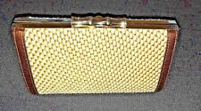 NWOT Elaine Turner Gold & White Woven Clutch, Signed Bamboo Clasp