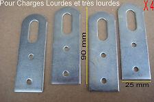 Lot de 4 Pattes,Fixation,Attache,Support de Meuble ou Elément Cuisine,90 x 25 mm