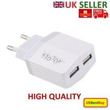 European 2 Pins Daul USB AC Power Adapter EU Plug Wall Charger Mobiles - White