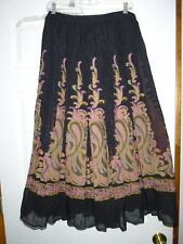 Coldwater Creek Long Crinkle Rayon Print Peasant Skirt Elastic Waist Boho Sz PL