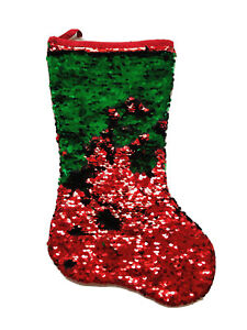 19 In Reverseble Sequined Red Green Christmas Stocking