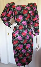 Vintage CC Courtenay 100% Silk Red Pink Black Floral Sheath Dress Small