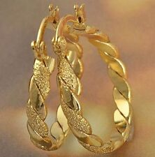 "Pretty New 9K Solid Yellow Gold Filled 1"" Braided Twist Round Hoop Earrings"