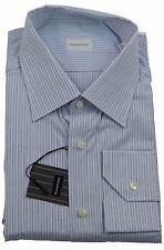 Ermenegildo Zegna Blue Pin Stripe Shirt Made in Italy Size 45 / 17.75