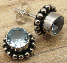 Handmade At eBay, BLUE TOPAZ Studs Post Earrings Silver Plated Over Solid Copper