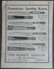 India 1920s illustrated price-list Sporting & Shikar Knives THE BOMBAY ARMOURY