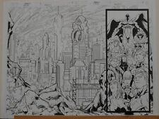 ROGER CRUZ / ANDY OWENS original art, MAGNETO #1, Double Splash pgs #2-3, 22x16
