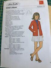 Vintage 1972 Silver Needles sewing pattern childs blazer jacket age 6-8 uncut