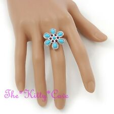 Turquoise & Violet Shabby Boho Chic Retro Ethnic Silver Floral Daisy Flower Ring