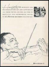 1958 Jascha Heifetz portrait by Herschel Levit Rca Victor Records print ad