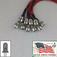 10x 5mm White Clear Round Pre Wired LEDs Light 12v Metal Bezel USA