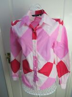 BODEN Pink Patchwork Cotton Shirt Blouse Top 10 Long Sleeved Harlequin Quirky
