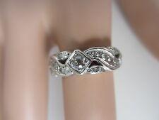Antique Diamond 14k White Wedding Band Ring 1920's