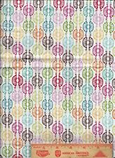 Papillon Red Rooster Rainbow border quilting cottom lime green bleu pinkFabric