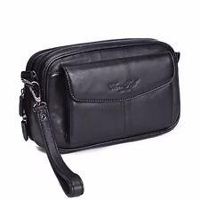 100% Genuine Leather Men Clutch Bag Cell Phone Case Small Handbag Purse Wallet