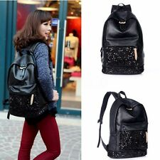 US Women Travel Leather Handbag Sequins Backpack Rucksack Shoulder School Bag