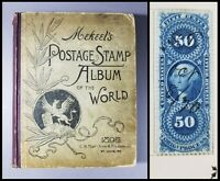 Antique VTG Mekeel's 1895 World Postage Stamp Album w/ Orig Stamps Collection