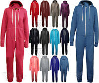 Ladies Onesie All In One Womens Jumpsuit Hoody Hooded Zip Plain Playsuit Fleece