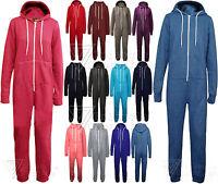 Ladies Onesie All In One Womens Jumpsuit Hoody Hooded Zip Plain Playsuit Fleece
