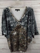 BLEU Velvet Burnout Tunic Top Large Black Brown Geo Paisley Print