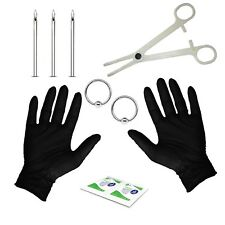 Body Piercing Starter Kit with Piercing Needles, 14G Ball Closure Ring Body P...