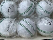 Pack of 6 White Cricket Leather Hard Ball 5.5 Oz. Hand Stitched By Star Sports.