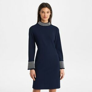 Karl Lagerfeld Women's Blue Scuba Crepe Long Sleeve Pearl Dress