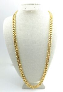 """CUBAN LINK CHAIN, Style 1, Gold Plated 24"""", 30"""", or 36 inches long, 10mm Wide"""
