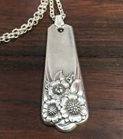 """VINTAGE ANTIQUE SPOON Necklace Rogers Bros April 18"""" Silverplate Jewelry Fork"""
