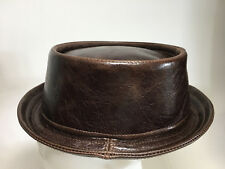 Jill Corbett choc brown leather pork pie hat  Handmade in UK to order S/M/L/XXX