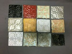 12 Antique Tin Metal Ceiling 6x6 Multi Color Crafts Art Projects VTG 543-20B
