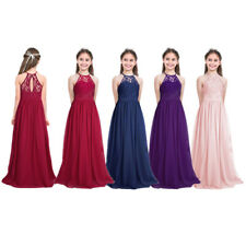 Kids Flower Girls Dress Bridesmaid Princess Lace Party Wedding Formal Long Maxi