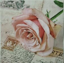 ROSE POSTCARD VINTAGE 2 individual LUNCH SIZE paper napkins for decoupage 3-ply