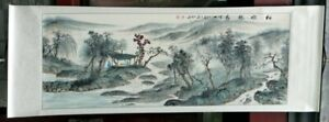 """Chinese huge wall scroll painting landscape 31x88"""" large tree river ink art"""