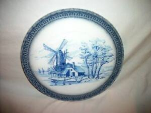 Italian Pottery HP Dutch Delft Scene Lg Plate Platter Trivet ARM Ceramica